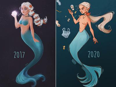 Redraw challenge - 2017 vs 2020 old art redraw art challenge mermaid painting procreate character digital illustration character design digital art illustration drawing digital drawing