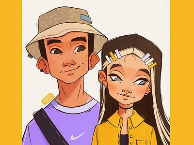 ✨Shy ✨ visual development couple girl procreate character digital illustration character design digital art drawing illustration digital drawing
