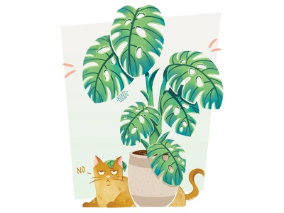 Cat & plant plant illustration cat drawing cat illustration pets graphic design digital illustration character drawing funny drawing plant cat digital drawing digital art character design illustration