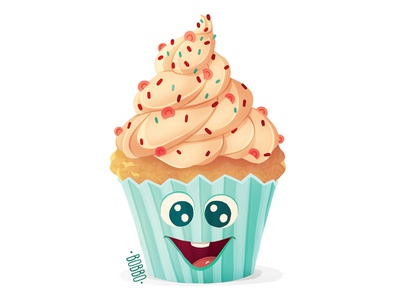 Cupcake vector branding cup cake wacom cintiq cute art muffin sticker design food illustration food art funny drawing funny digital illustration graphic design digital art painting character character design drawing illustration digital drawing