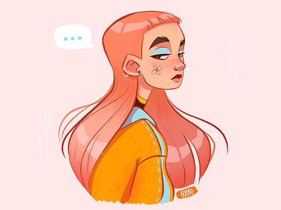 ... pink hair girl fashion drawing procreate painting graphic design digital illustration character digital art character design drawing illustration digital drawing