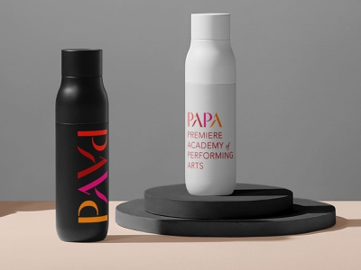 PAPA Dance Water Bottles packaging dance ballet performing arts logo branding