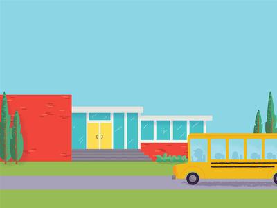 School childrens book illustration school bus school midcentury school