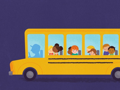 School Bus book cover illustration childrens book kids bus school bus