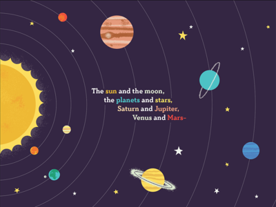 Solar System planets sun childrens book solar system space illustration