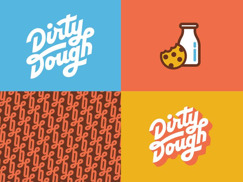 Dirty Dough Branding pt. 2 dough handlettering typogaphy milk cookies and milk cookies pattern logo design branding dirty dough