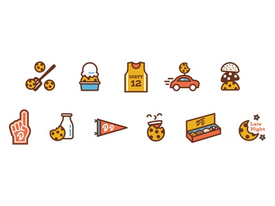 Dirty Dough Icon Set college sports bakery ice cream delivery college town branding college cookies icon set icons icon
