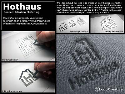 Hothaus Ltd | Concept Ideation Sketch Process logotypes vector illustration wordmark logotype design graphic designer sketching branding brand hand lettering typography icon iconography monogram identity