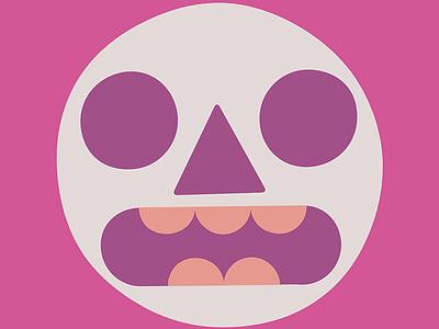 Tiki Scream teeth surprised skull halloween face emoji illustration design illustration