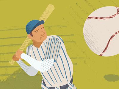 Babe Ruth 1/3 design popfly homerun swing illustration sports vintage baseball baseball babe ruth
