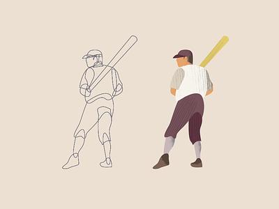 Babe Ruth 2/3 design homerun swing vintage baseball baseball texture illustration art illustration design illustration