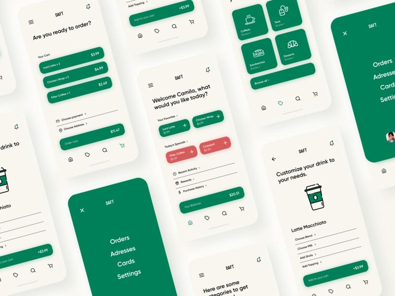 Daft Coffee typography simple shapes cafe mobile mobile app simplistic clean xd design coffee app design app ux ui