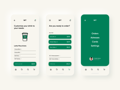 Daft Coffee Mobile App ux  ui xd design ui typography simplistic simple shapes mobile app mobile clean cafe coffee app design app