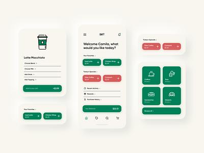 Daft Coffee Mobile App xd design ux ui ui  ux simplistic components simple shapes mobile design mobile app mobile coffee clean cafe app design app ui