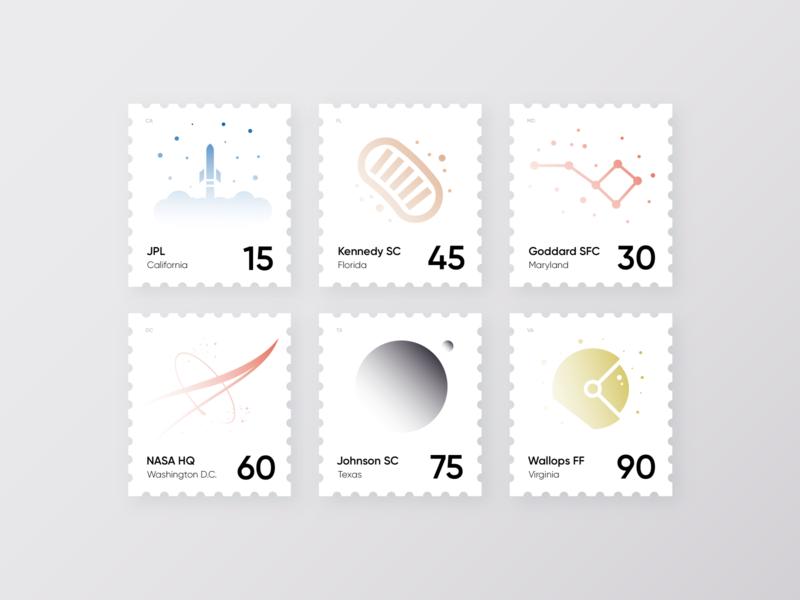 NASA Sites Stamps illustration minimal astronomy nasa rocket space print postage post stamps stamp