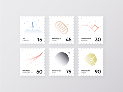 NASA Sites Stamps illustration minimal astronomy nasa rocket space print postage post stamps stamp