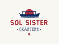 Sol Sister boat grain illustration logo design vintage logo vintage logo