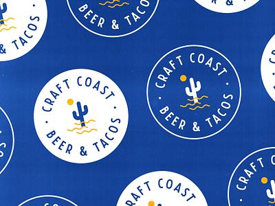 Craft Coast Beer & Tacos Spread shapes geometric grain vintage illustration icon simple clean circular circle vintage logo logo