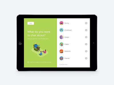 Kindeo - Main Menu legacy kindeo video illustration menu app ipad