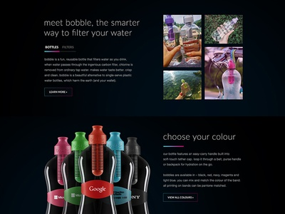 Branded Bobble | Homepage homepage product showcase minimal clean water helvetica lato typography subtle bottle