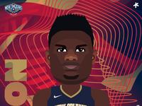 Zion Williamson graphic design zion caricature behance sports design digitalart art illustrator basketball sports cartoon nba new orleans pelicans zion williamson