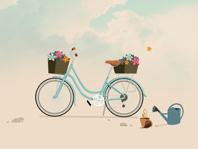 Spring cycle blue illiustration vector clouds spring flower bike
