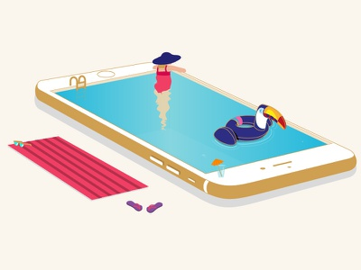 Swimming Pool holiday relax smartphone summer pool swimming illustration vector