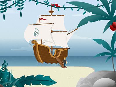 En route moussaillon ! water wood ocean vector draw beach jungle sea boat