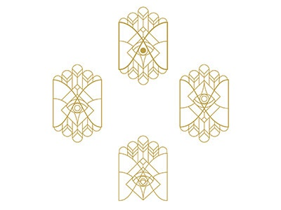 lineart logo m s eyes gold identity