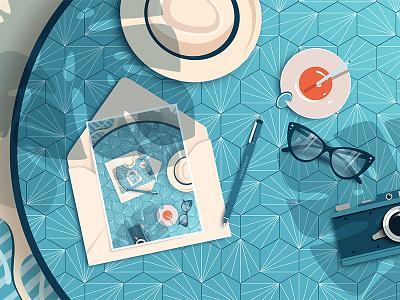 Summer coffee relax camera sunshine hat illustration pattern postcard summer glasses blue coffee table