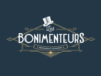Identity for Les Bonimenteurs restaurant artdeco logo gold hat restaurant vintage lettering branding identity