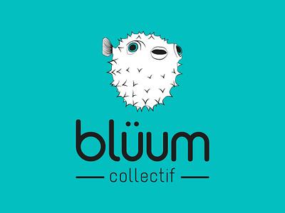 Identity for Collectif Blüum blue logo branding fish sea animals illustration