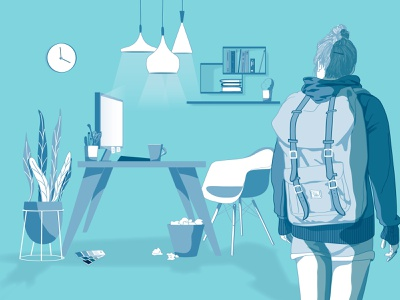 blue office holiday baggage office blue illustration