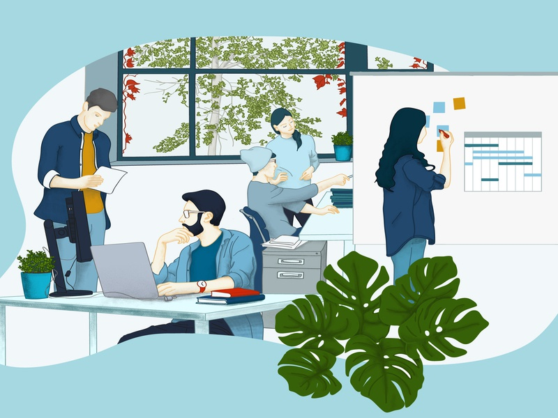 office working bleu plant organisation developer office work illustration