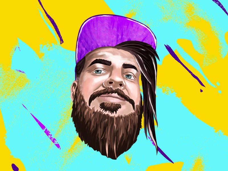 Streamer Frank Baun ilustration digital paint digital 2d beard beardman twitch youtuber facebooker esports streamer game gaming