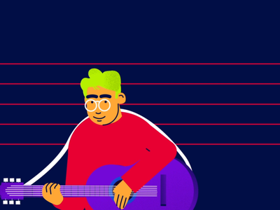Musical Characters tick colleagues group headphones glasses explainer music gif animation character guitar illustration flat
