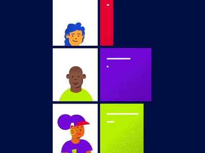 PRS Diversity Characters illustration swipe candidates colleagues corporate happy gif animation grain flat hustle music character social profiles characters people diversity diverse