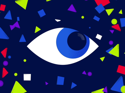 Overseeing Eye watching viewer viewing business corporate hustle gif animation blinking grain illustration flat texture abstract shapes looking eye character blink