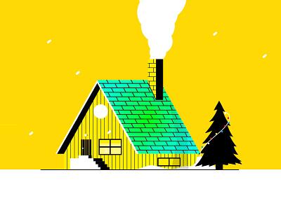 winter cabin cute flat illustration deserted wooden smoke tree steps house snow winter chimney christmas xmas
