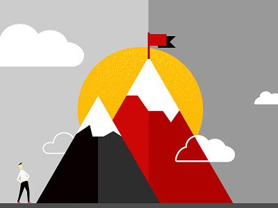 Highest peak snowy sky sun character journey flag mountains