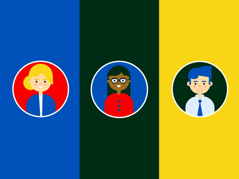 Small Team illustration tie office geek cute flat characters coworkers colleagues team