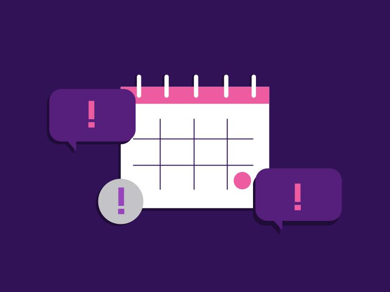 Calendar Icon Illustration organisation message office line art flat calendar speech bubble payday date alert