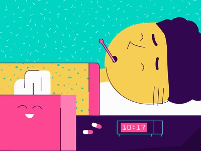 Sick Day character illustration flat pattern texture illness pills alarm clock box tissue flu cold