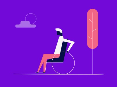 Accessibility Illustration character line art illustration disabled disability wheelchair