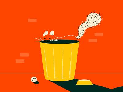 A Tribute shadow hand drawn illustration minimal line art street trash bin cat
