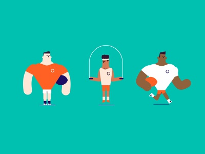 Team Players flat minimal characters illustration athlete exercise gym football rugby sports team