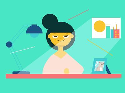 Morning Productivity hustle shapes minimal productivity character flat desk illustration morning