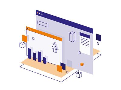 Analytics Software helpdesk cursor browser chart graph technology illustration flat perspective