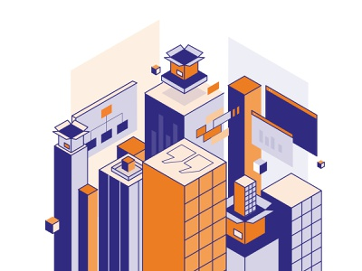 Packaging City boxes tech technology software city buildings perspective line art flat isometric