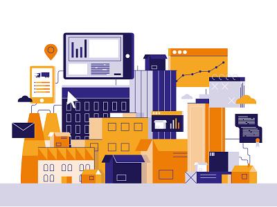 Packaging city alternative illustration software buildings city vector technology design shapes hustle minimal line art flat